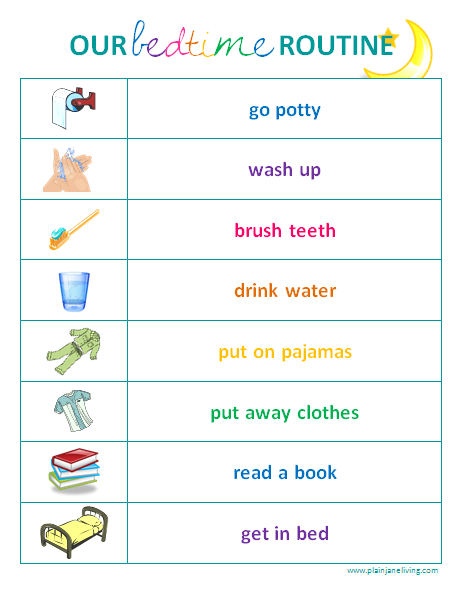 Bedtime clipart bedtime routine. Toddler chart sarnia mom