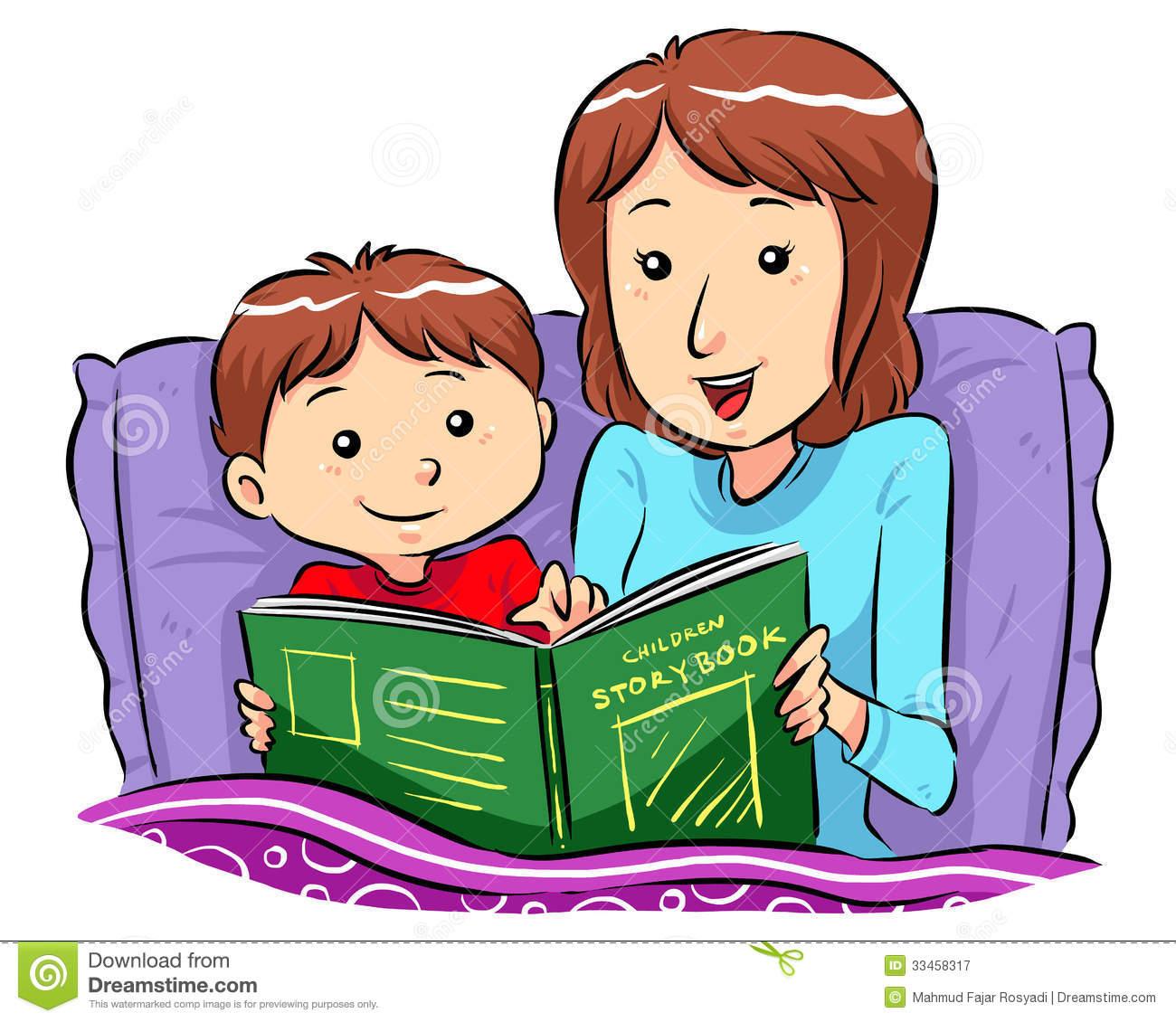 Bedtime story time . Bedroom clipart children's