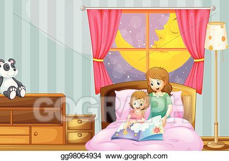 Bedtime clipart bedtime story. Vector art mother telling