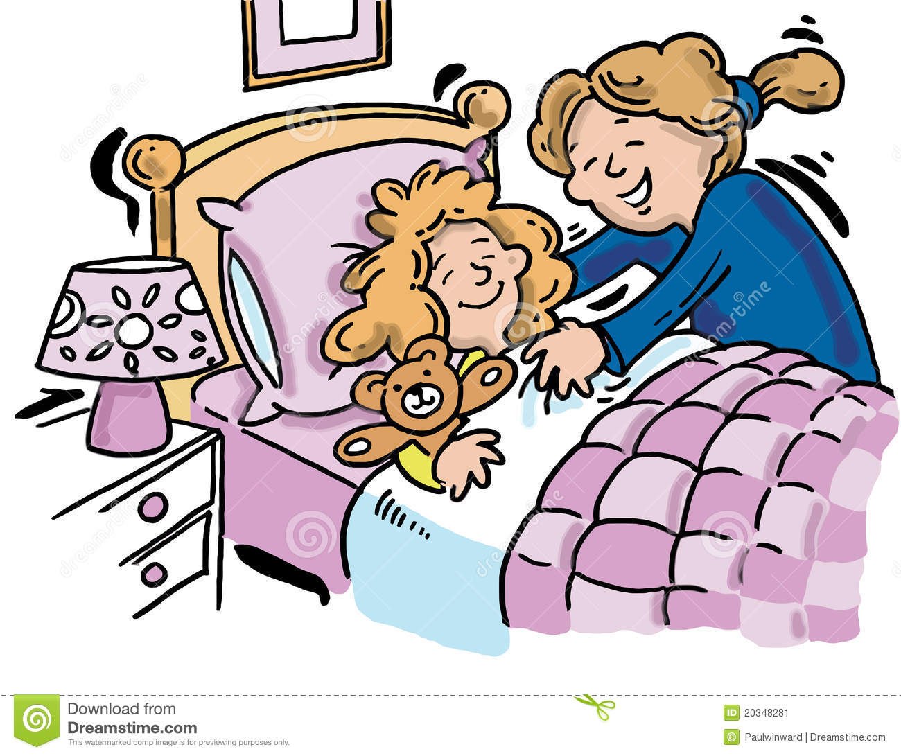 Bedtime clipart bedtime story. Little girl pencil and