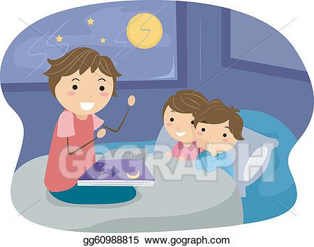 Bedtime clipart bedtime story. Eps vector stock illustration