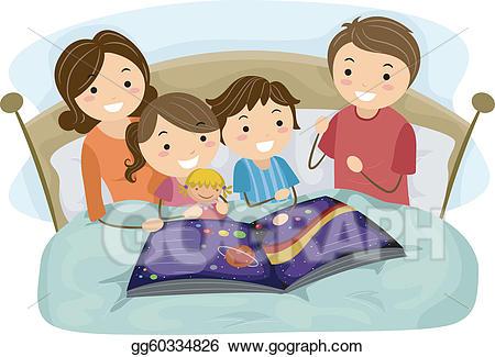 Eps vector stock illustration. Bedtime clipart bedtime story