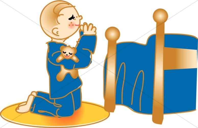 Child praying at bedside. Boy clipart bedtime