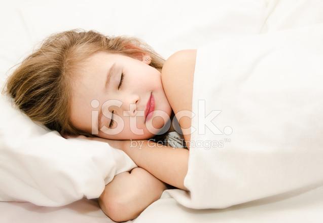 Sleep in the bed. Bedtime clipart little girl