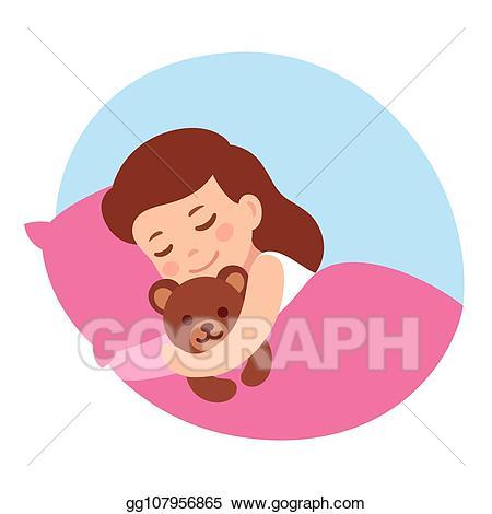 Bedtime clipart little girl. Vector illustration sleeping with