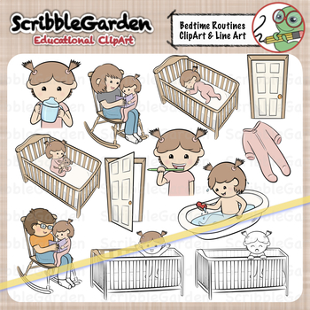 Bedtime clipart toddler bedtime. Routines boy and girl