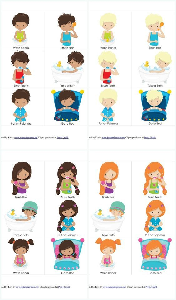 Bedtime clipart toddler bedtime. Routine chart and cards
