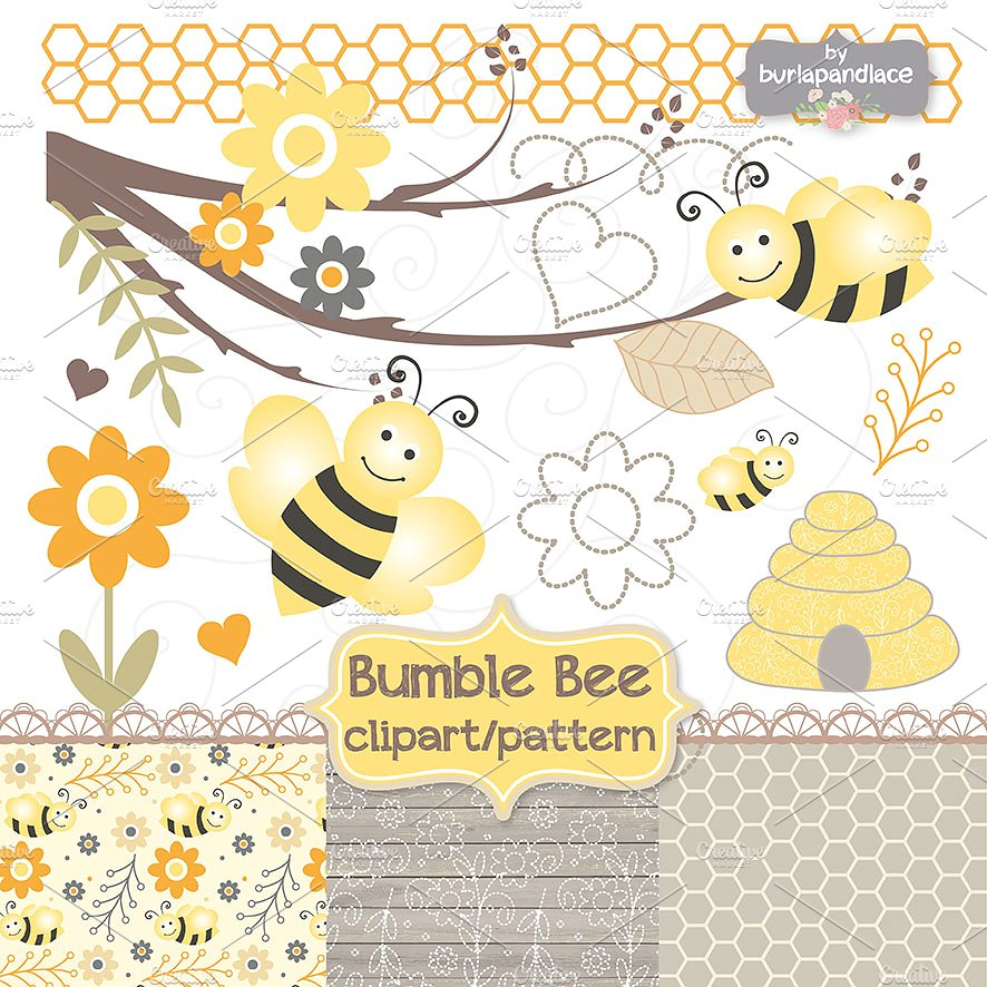 Bee clipart abstract. Bumble and digital paper
