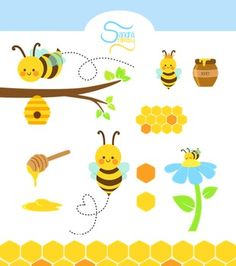 Honey bees clip art. Bee clipart abstract