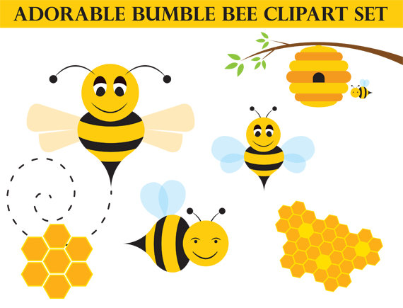 Bee clipart adorable. Honey art bumblebee commercial