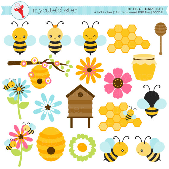 Bees set clip art. Bee clipart beehive