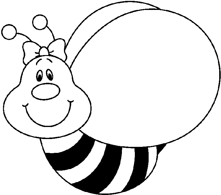 Wikiclipart in cute. Bee clipart black and white