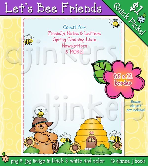 Bees bear clip art. Bee clipart boarder