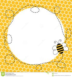 Cute bumble baby shower. Bee clipart boarder