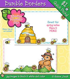 Half page clip art. Bee clipart borders