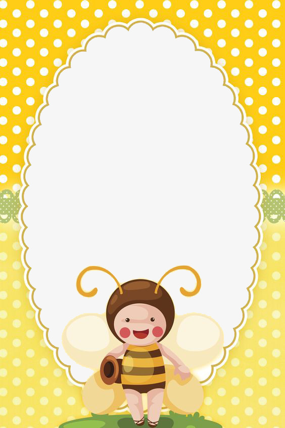 Border frame yellow png. Boarder clipart bee
