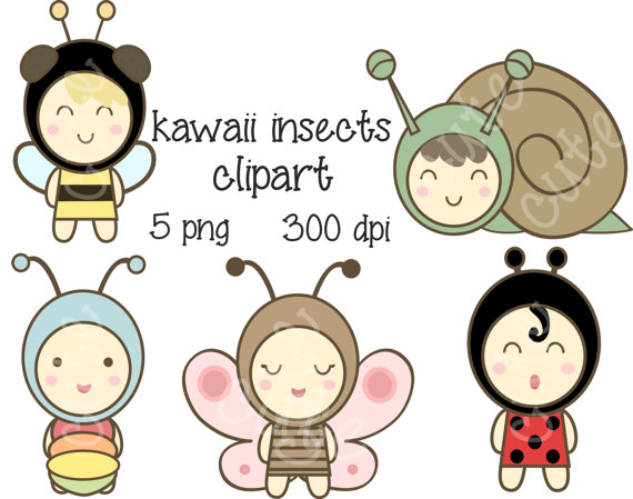 Bee clipart butterfly. Sale kawaii insect bug