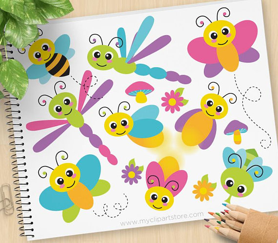 Flying bugs cute insects. Bees clipart butterfly