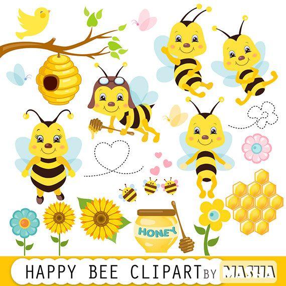 Bee clipart butterfly. Honey bees clip art