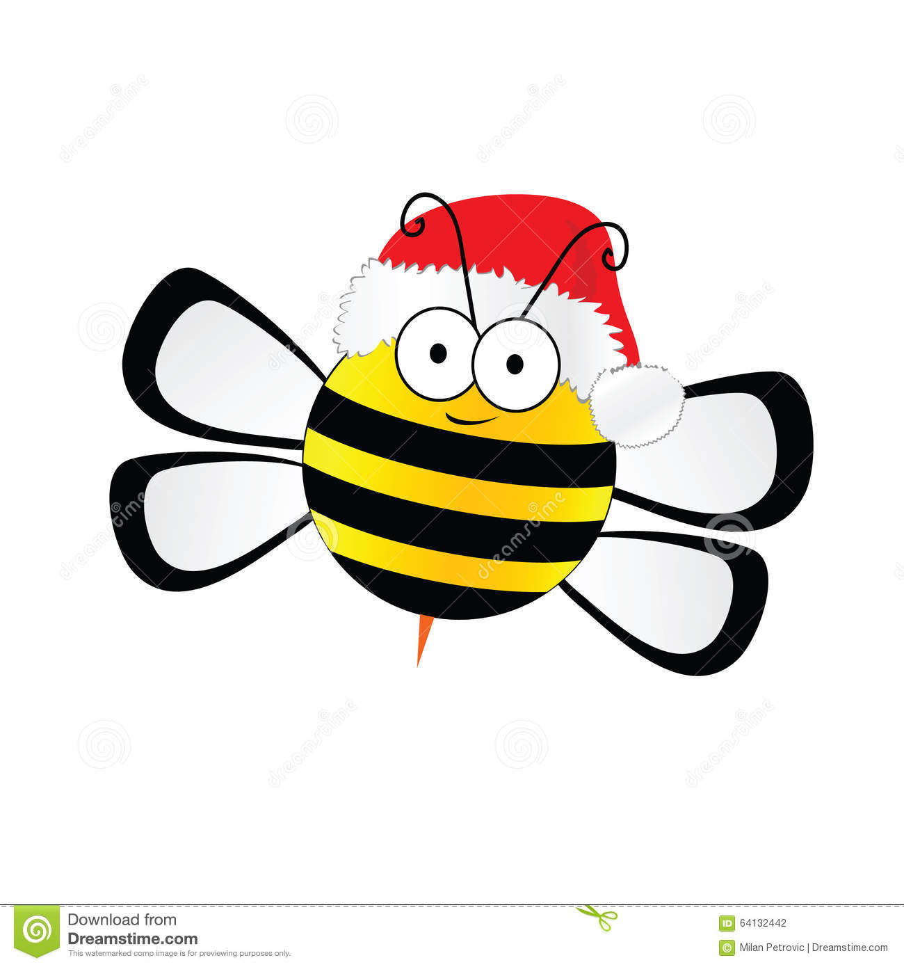 Pencil and in color. Bee clipart christmas