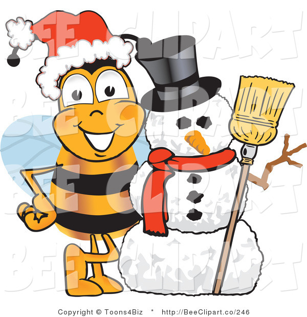Clip art of a. Bee clipart christmas