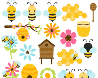 Etsy bees set clip. Bee clipart cute