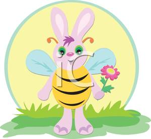 Image a bunny dressed. Bees clipart easter