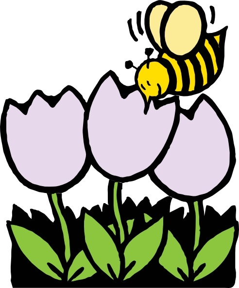 Bee clipart flower. And flowers clip art