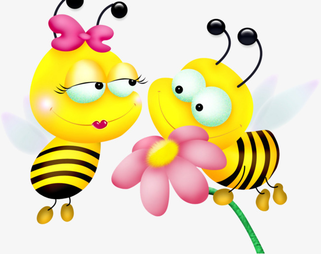 Cartoon cute flowers two. Bee clipart flower