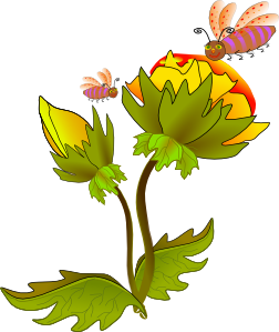 Bees clipart flower. Bee and clip art