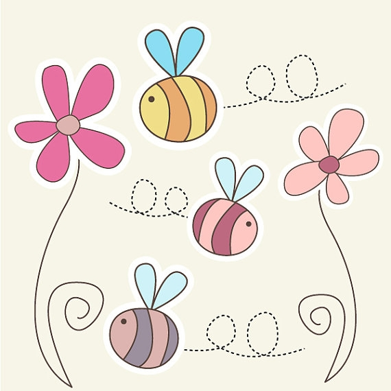 Bee clipart flower.  cute bumble set