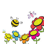 Flowers and bees . Bee clipart flower