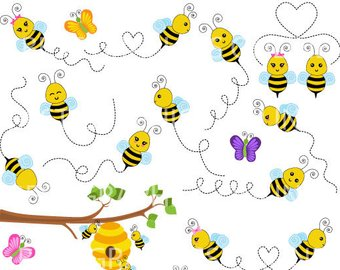 Honey etsy off sale. Bee clipart flying