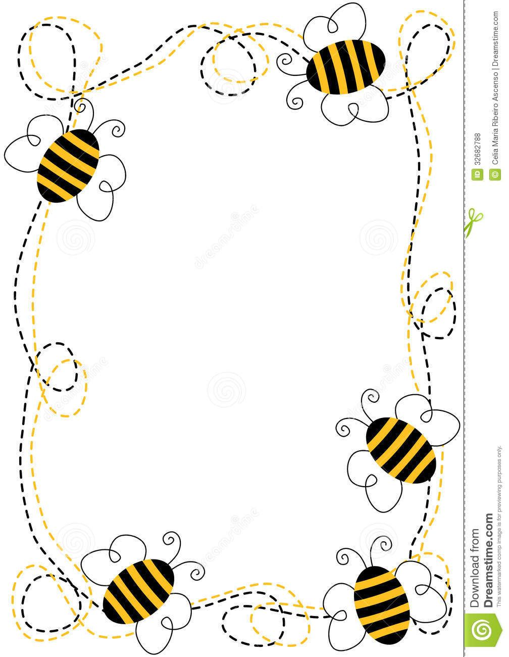 Bee clipart frame. Flying bees download from