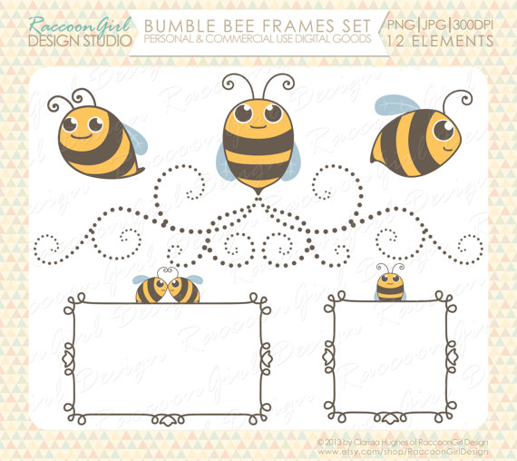 Bumble clip art and. Bee clipart frame