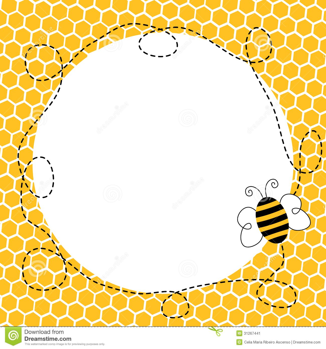 Flying in a honeycomb. Bee clipart frame