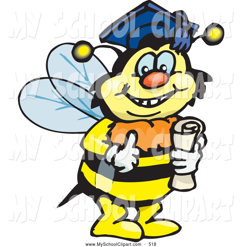 Clip art of a. Bee clipart graduation