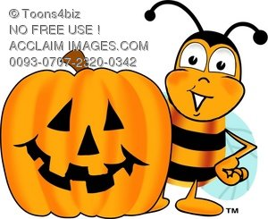 Illustration cartoon bumble bee. Bees clipart halloween