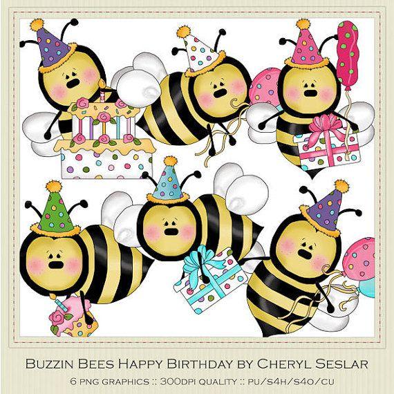 Buzzin bees by cheryl. Bee clipart happy birthday