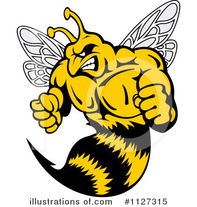 Wasp illustration by vector. Bee clipart hornet