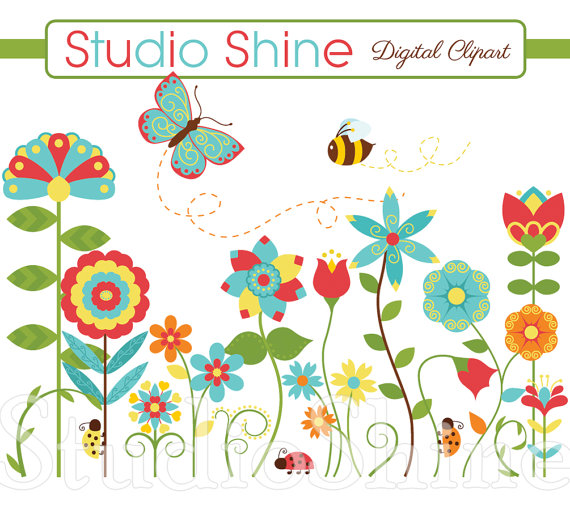 Bees clipart ladybug. Flower happiness blooms cute
