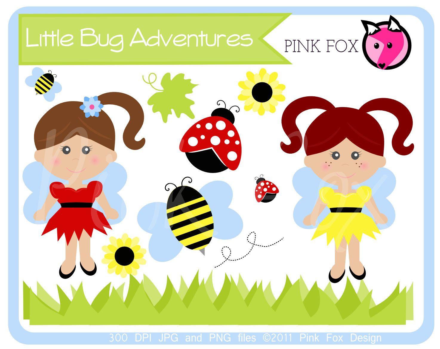 Instant download little bug. Bees clipart ladybug
