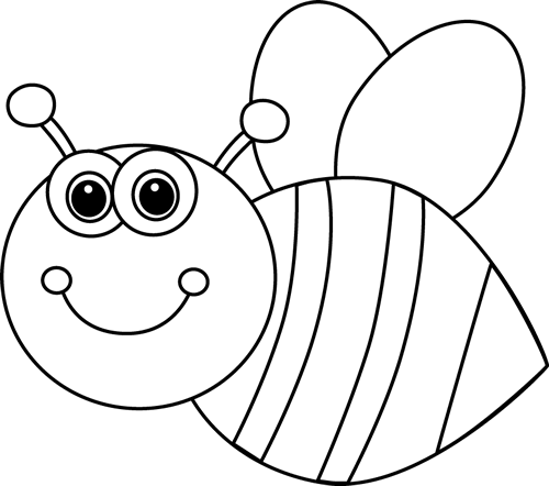 Bees clipart black and white. Cute cartoon bee clip