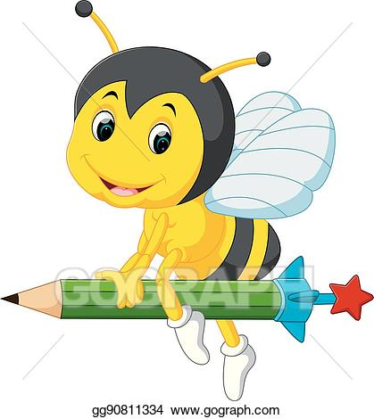 Bee clipart pencil. Eps vector holding stock