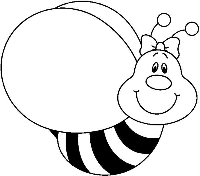 Black and white in. Bee clipart pencil