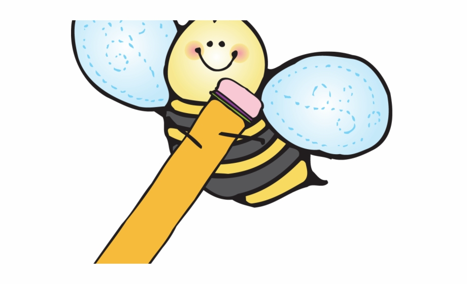 Writing cute transparent png. Bee clipart pencil