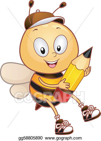 Vector art drawing gg. Bee clipart pencil