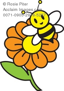 Bee clipart pollinator. Illustration of a flower