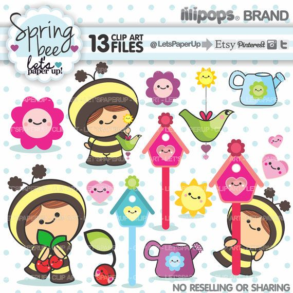 Spring clip art instant. Bee clipart printable