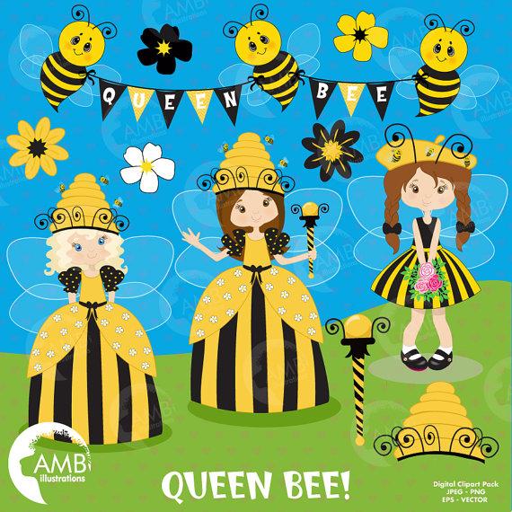 Fairy princess bumble clip. Bees clipart queen bee